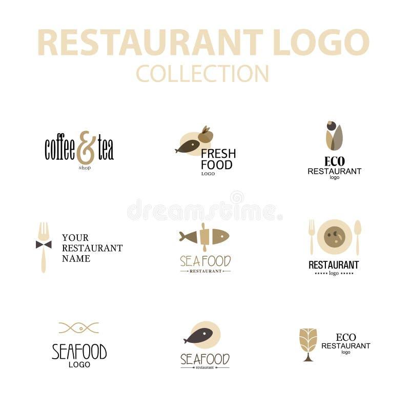 Διανυσματικό σύνολο προτύπων σχεδίου λογότυπων εστιατορίων διανυσματική απεικόνιση