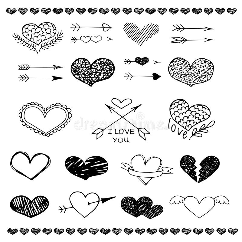 Διανυσματικό σύνολο σκίτσων καρδιών και βελών αγάπης διανυσματική απεικόνιση