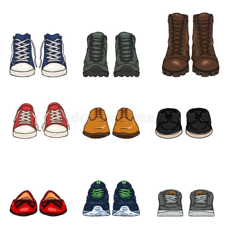 Διανυσματικό σύνολο στοιχείων παπουτσιών χρώματος κινούμενων σχεδίων στοκ εικόνες