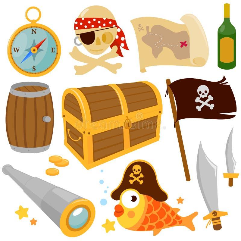 Διανυσματικό σύνολο στοιχείων πειρατών απεικόνιση αποθεμάτων