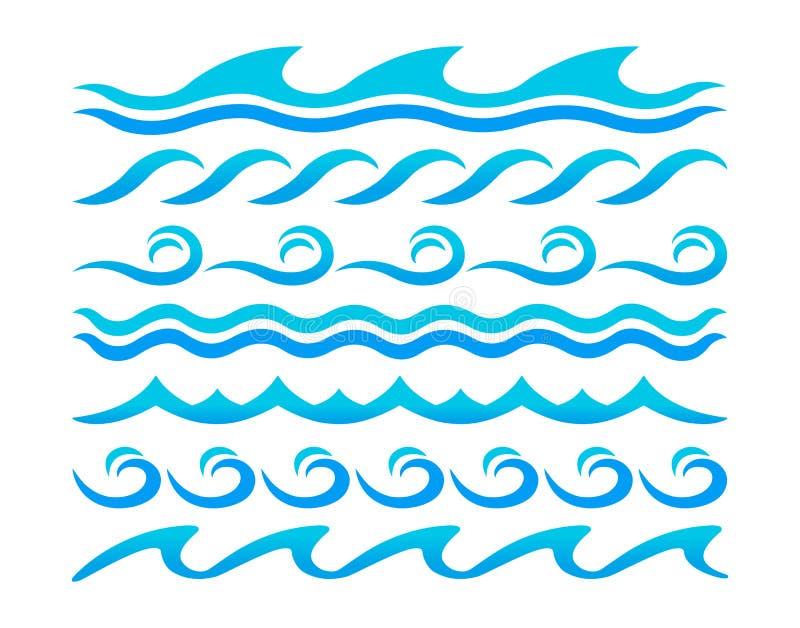 Διανυσματικό σύνολο στοιχείων σχεδίου κυμάτων νερού ελεύθερη απεικόνιση δικαιώματος