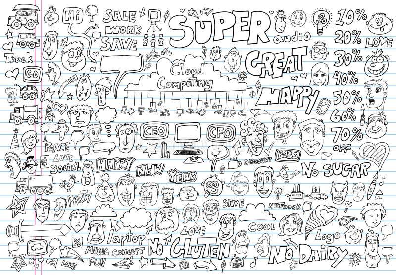Διανυσματικό σύνολο στοιχείων σχεδίου Doodle διανυσματική απεικόνιση