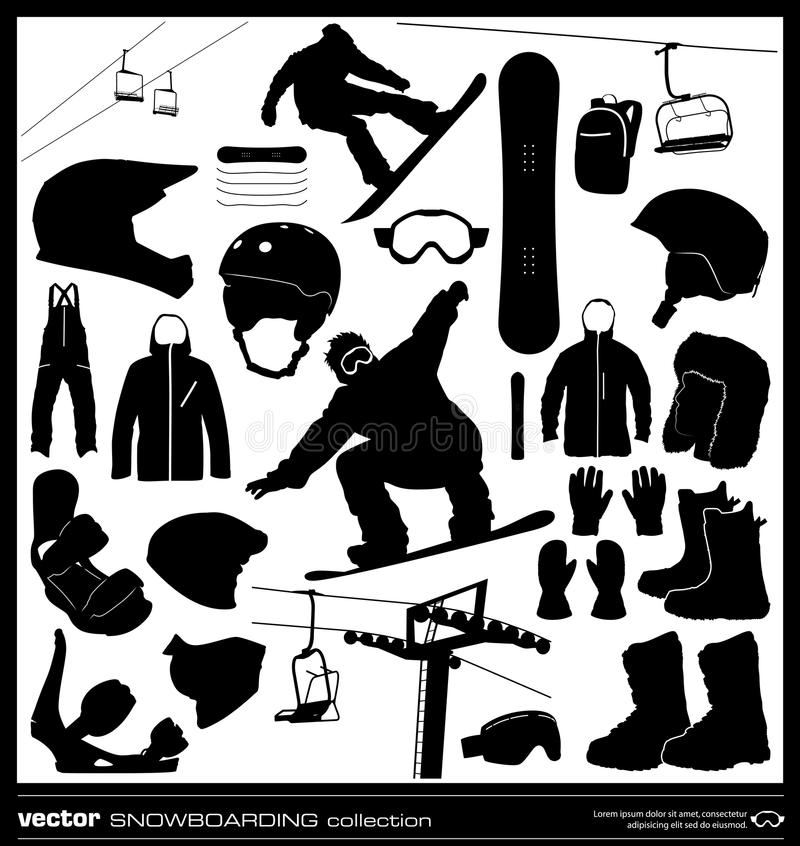 Διανυσματικό σύνολο στοιχείων Snowboarding ελεύθερη απεικόνιση δικαιώματος