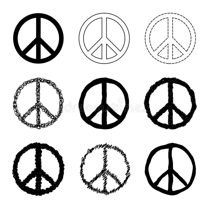 Διανυσματικό σύνολο συμβόλων ειρήνης διανυσματική απεικόνιση