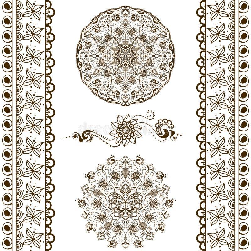 Διανυσματικό σύνολο συρμένων χέρι διακοσμητικών στοιχείων στο εθνικό ινδικό ύφος Συλλογή των βουρτσών σχεδίων μέσα απεικόνιση αποθεμάτων