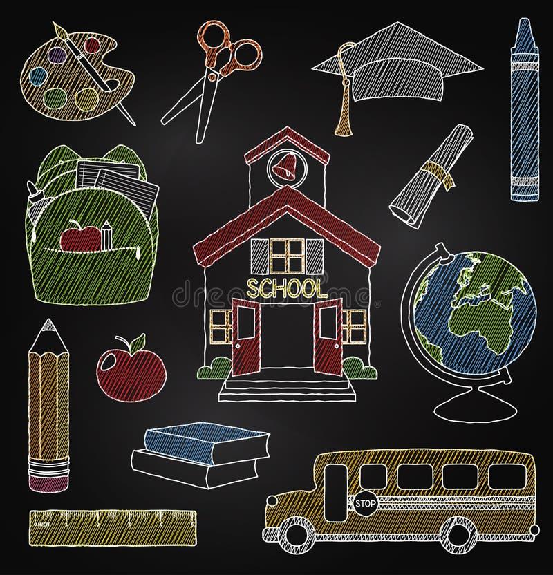 Διανυσματικό σύνολο συρμένων χέρι σχολικών διανυσμάτων πινάκων κιμωλίας διανυσματική απεικόνιση
