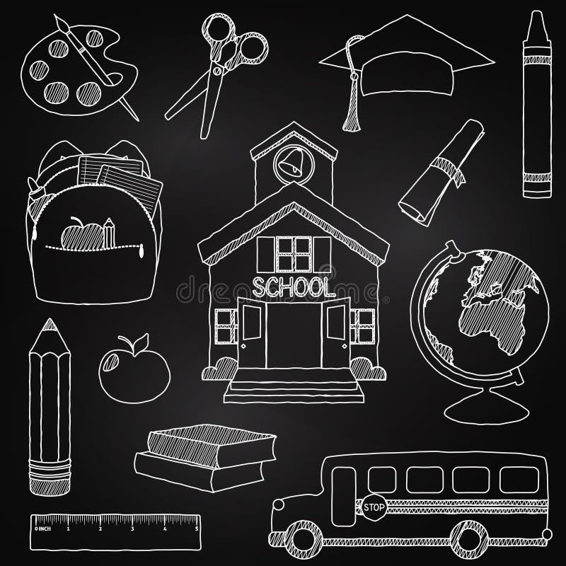 Διανυσματικό σύνολο συρμένων χέρι σχολικών διανυσμάτων Doodle πινάκων κιμωλίας διανυσματική απεικόνιση