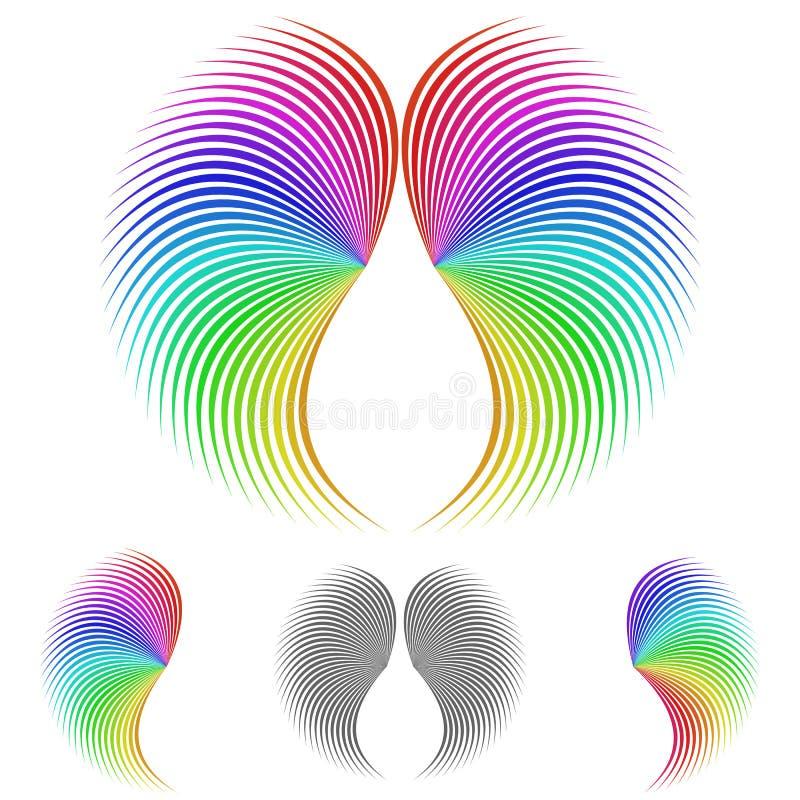 Διανυσματικό σύνολο σχεδίου λογότυπων φτερών αγγέλου απεικόνιση αποθεμάτων