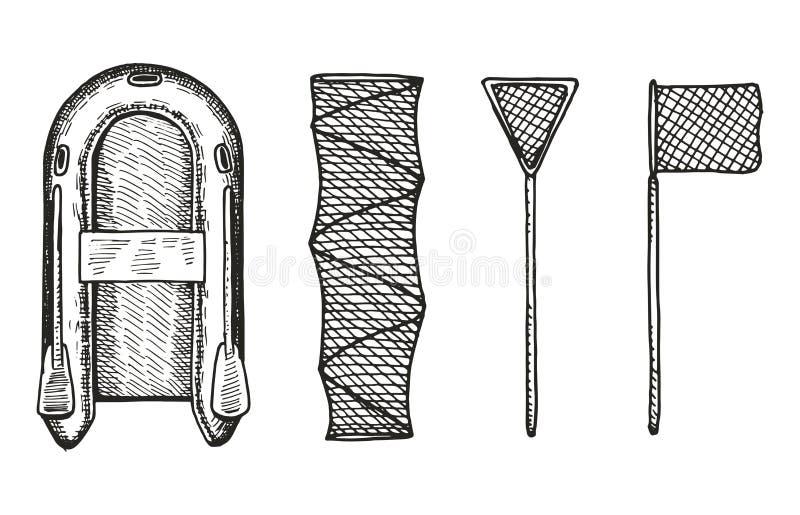 Διανυσματικό σύνολο σχεδίων αλιευτικών σκαφών και χεριών διχτυών διανυσματική απεικόνιση