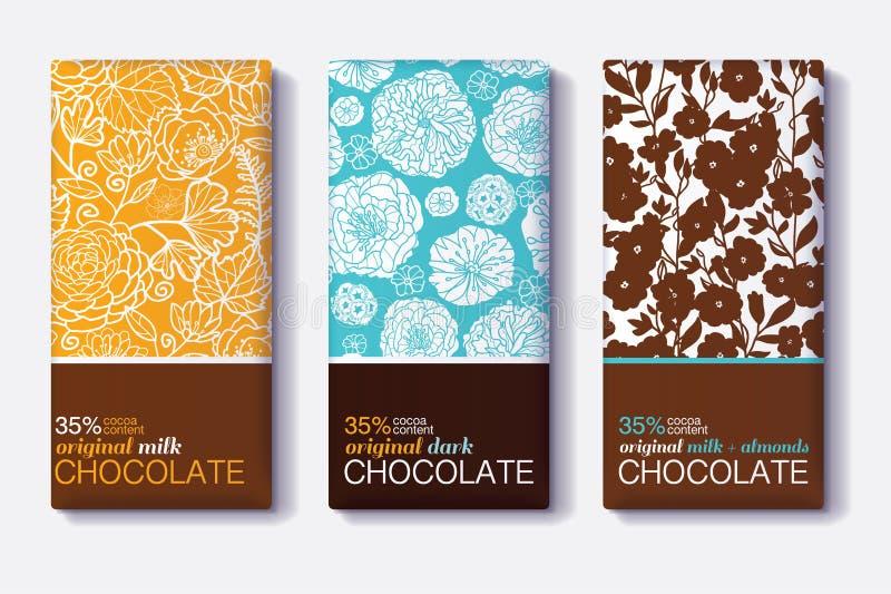 Διανυσματικό σύνολο σχεδίων συσκευασίας φραγμών σοκολάτας με τα σύγχρονα Floral σχέδια Γάλα, σκοτάδι, αμύγδαλο Συσκευασία Editabl διανυσματική απεικόνιση