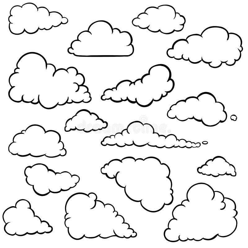 Διανυσματικό σύνολο σύννεφων περιλήψεων στοκ εικόνα