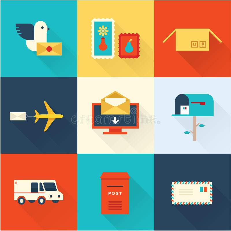 Διανυσματικό σύνολο ταχυδρομείου διανυσματική απεικόνιση