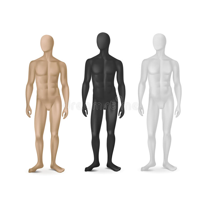 Διανυσματικό σύνολο τριών αρσενικών μανεκέν απεικόνιση αποθεμάτων