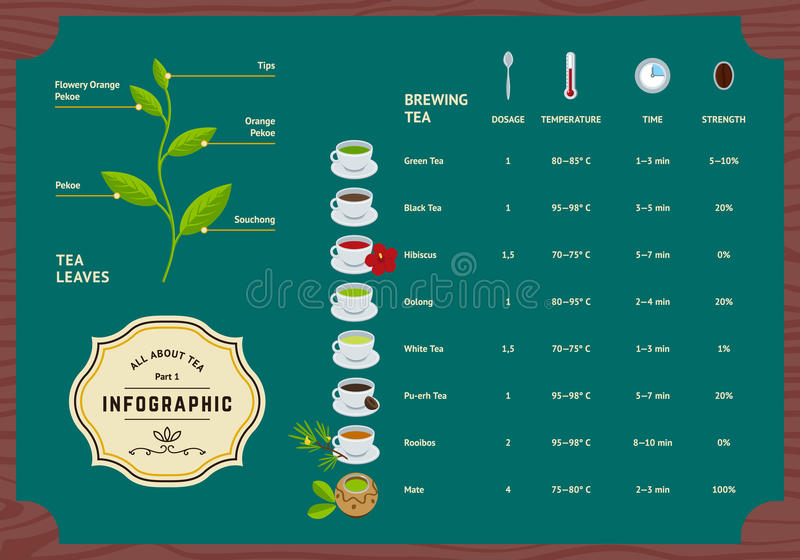 Διανυσματικό σύνολο τσαγιού Infographics απεικόνιση αποθεμάτων