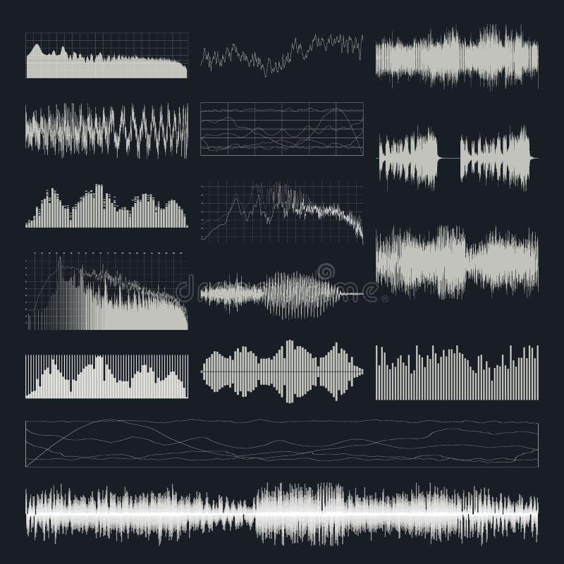 Διανυσματικό σύνολο υγιών κυμάτων μουσικής που απομονώνεται σε ένα σκοτεινό υπόβαθρο ελεύθερη απεικόνιση δικαιώματος