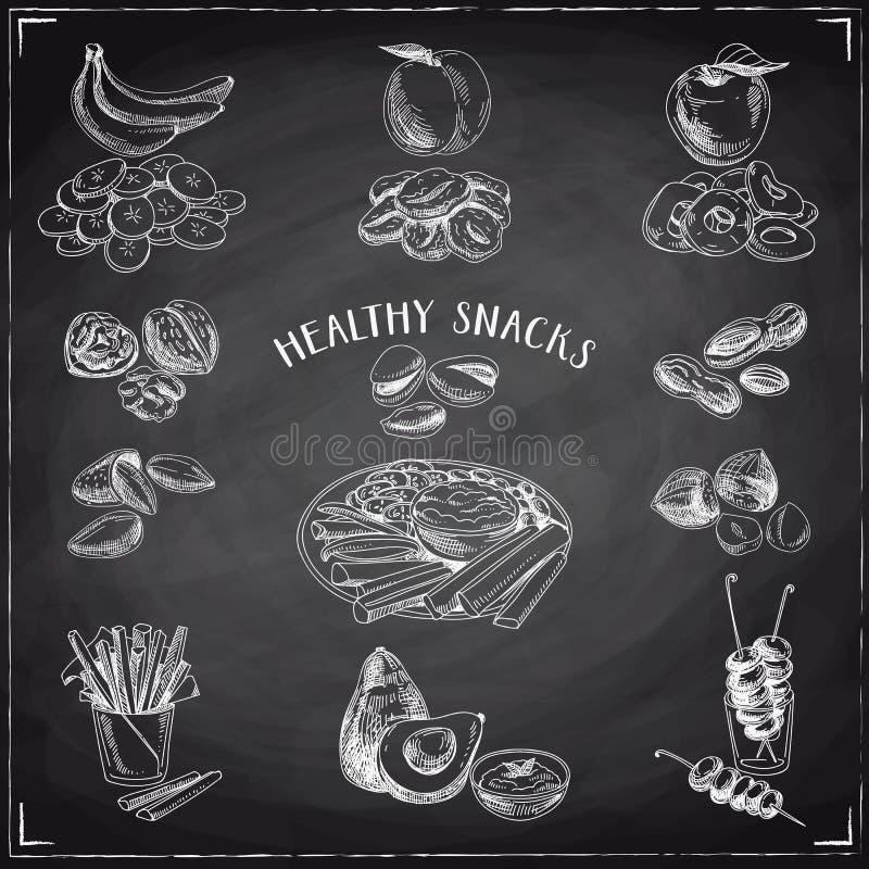 Διανυσματικό σύνολο υγιών πρόχειρων φαγητών διανυσματική απεικόνιση