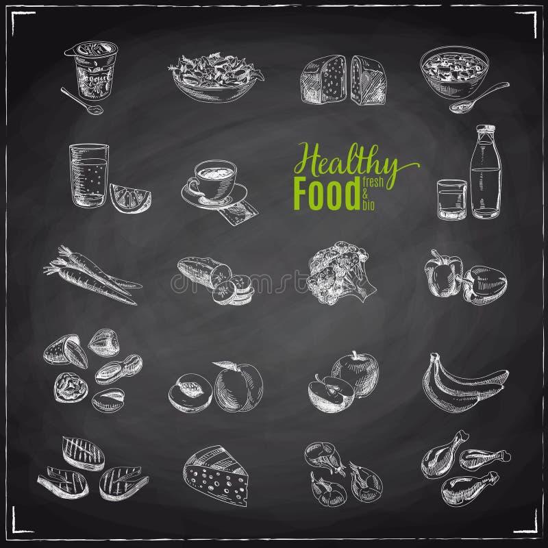 Διανυσματικό σύνολο υγιών τροφίμων απεικόνιση αποθεμάτων