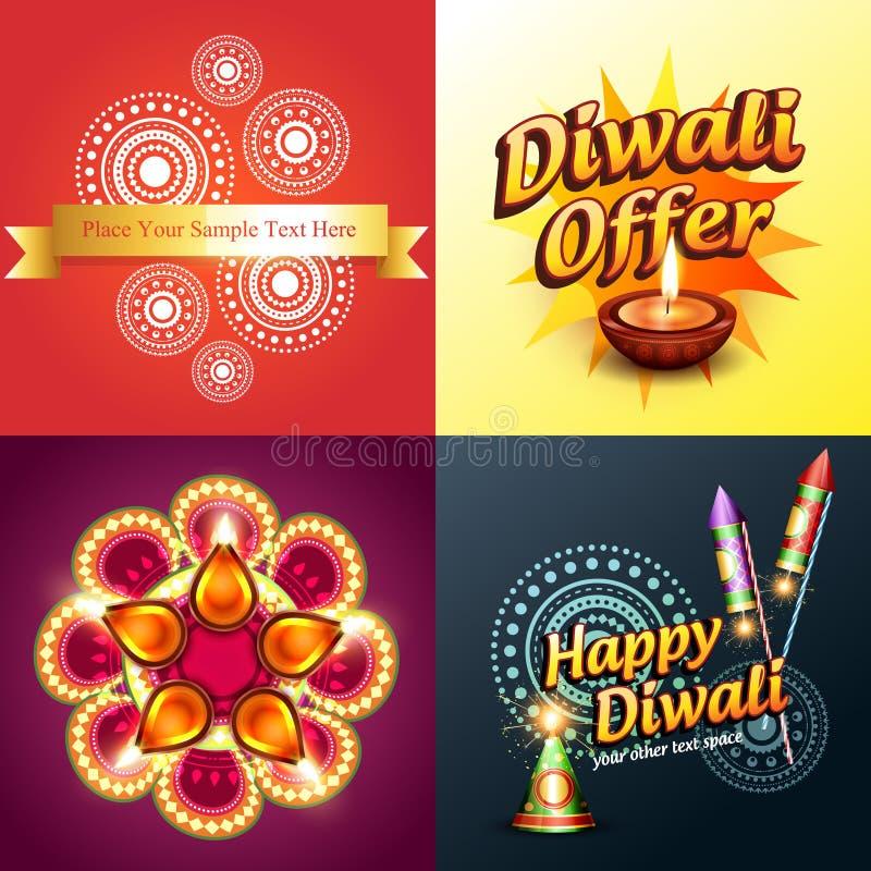 Διανυσματικό σύνολο υποβάθρου diwali απεικόνιση αποθεμάτων