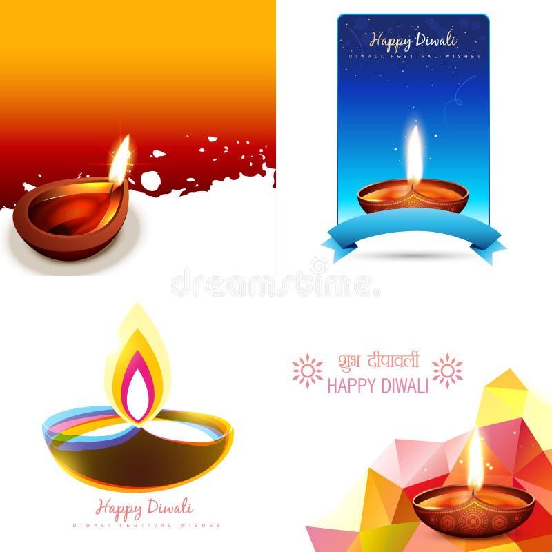 Διανυσματικό σύνολο υποβάθρου diwali διανυσματική απεικόνιση