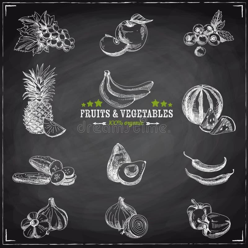 Διανυσματικό σύνολο φρούτων και λαχανικών ελεύθερη απεικόνιση δικαιώματος