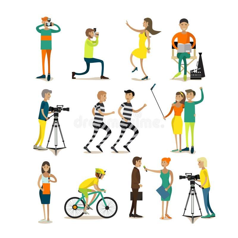 Διανυσματικό σύνολο φωτογραφίας και τηλεοπτικών στοιχείων σχεδίου έννοιας, εικονίδια ελεύθερη απεικόνιση δικαιώματος