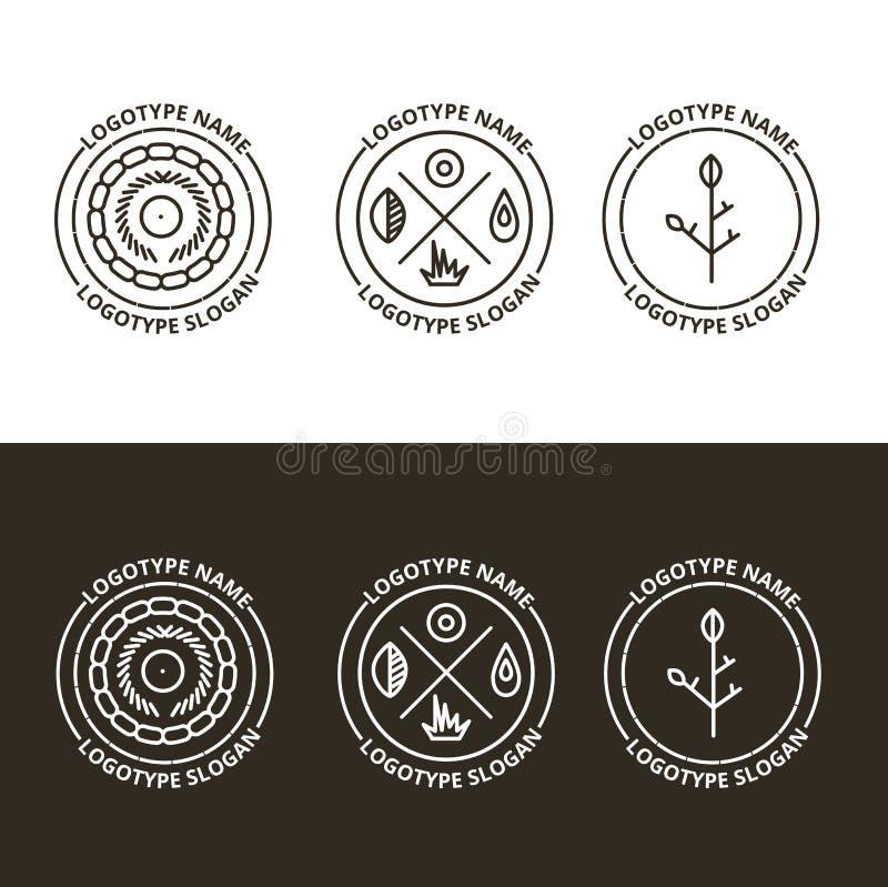 Διανυσματικό σύνολο φύσης και διακινούμενου λογότυπου διανυσματική απεικόνιση