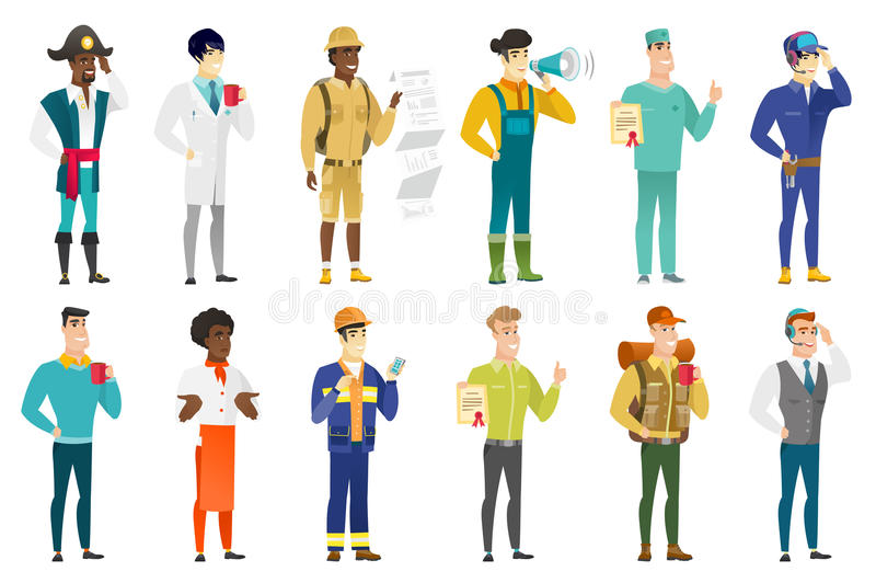 Διανυσματικό σύνολο χαρακτήρων επαγγελμάτων απεικόνιση αποθεμάτων