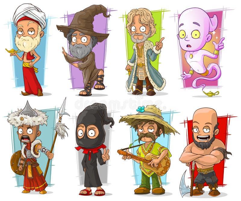 Διανυσματικό σύνολο χαρακτήρων κινούμενων σχεδίων δροσερό αστείο διαφορετικό διανυσματική απεικόνιση