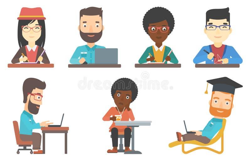 Διανυσματικό σύνολο χαρακτήρων πελατών και επιχειρήσεων φραγμών διανυσματική απεικόνιση
