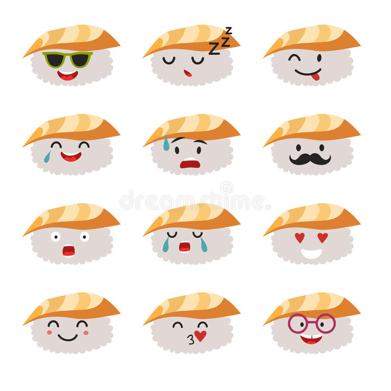 Διανυσματικό σύνολο χαρακτήρων σουσιών Emoticons ελεύθερη απεικόνιση δικαιώματος