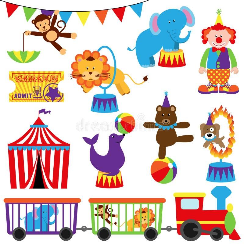 Διανυσματικό σύνολο χαριτωμένων εικόνων Themed τσίρκων απεικόνιση αποθεμάτων