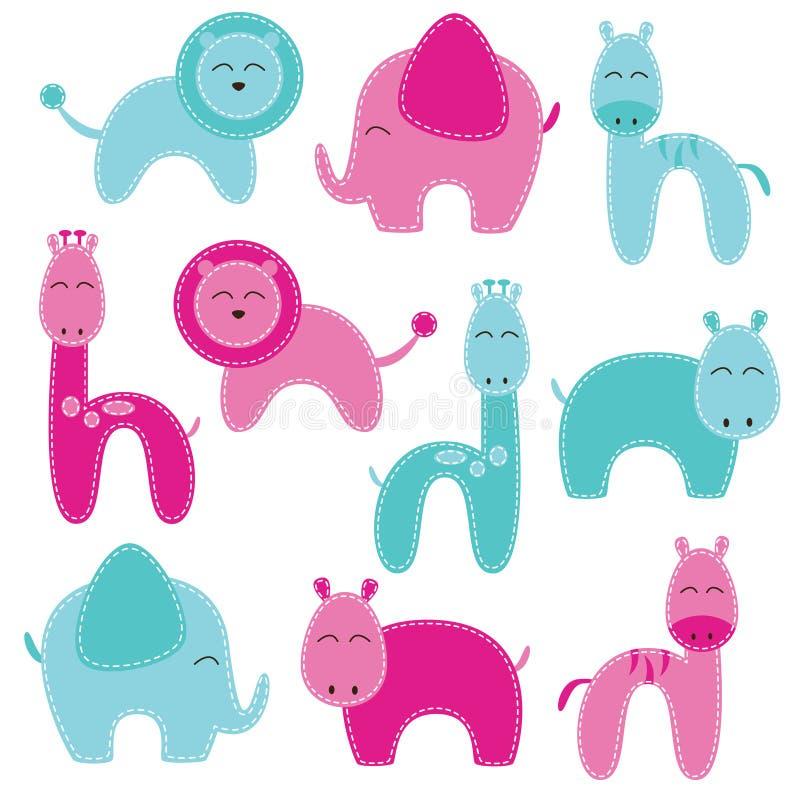 Διανυσματικό σύνολο χαριτωμένων ζώων ντους μωρών ελεύθερη απεικόνιση δικαιώματος