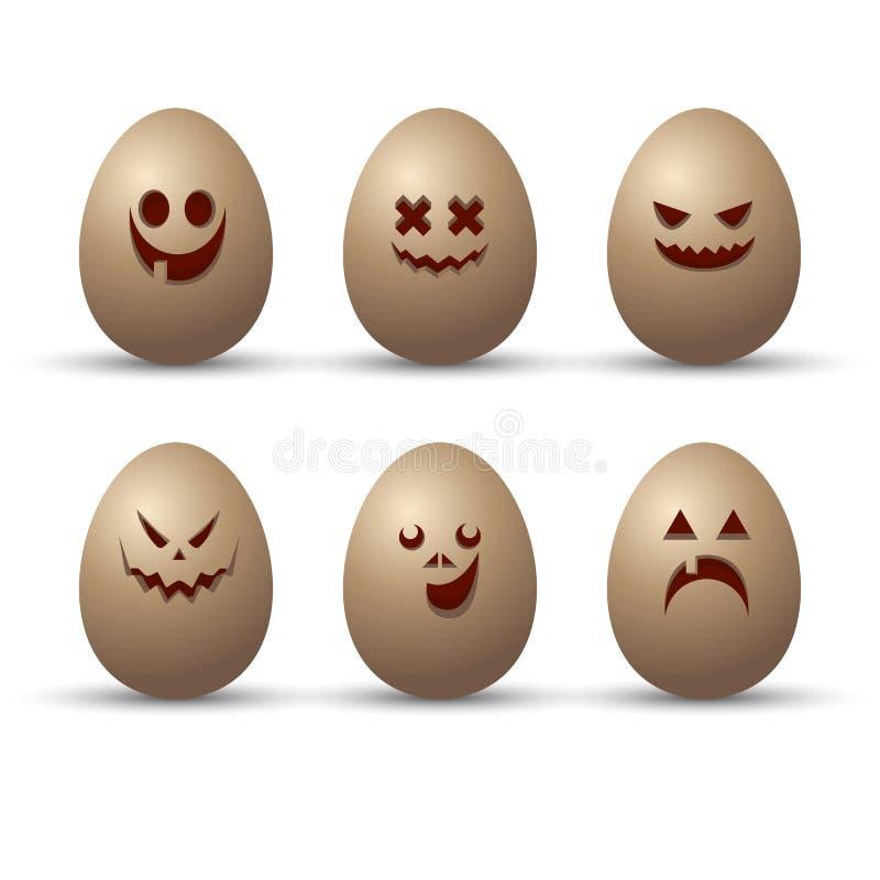Διανυσματικό σύνολο χαριτωμένων και αστείων αυγών με τις διαφορετικές συγκινήσεις, που αφιερώνεται στην ευτυχή ημέρα Πάσχας Συλλο ελεύθερη απεικόνιση δικαιώματος