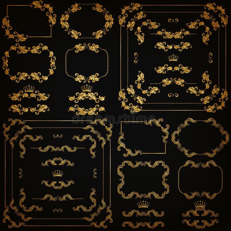 Διανυσματικό σύνολο χρυσών διακοσμητικών συνόρων, πλαίσιο ελεύθερη απεικόνιση δικαιώματος