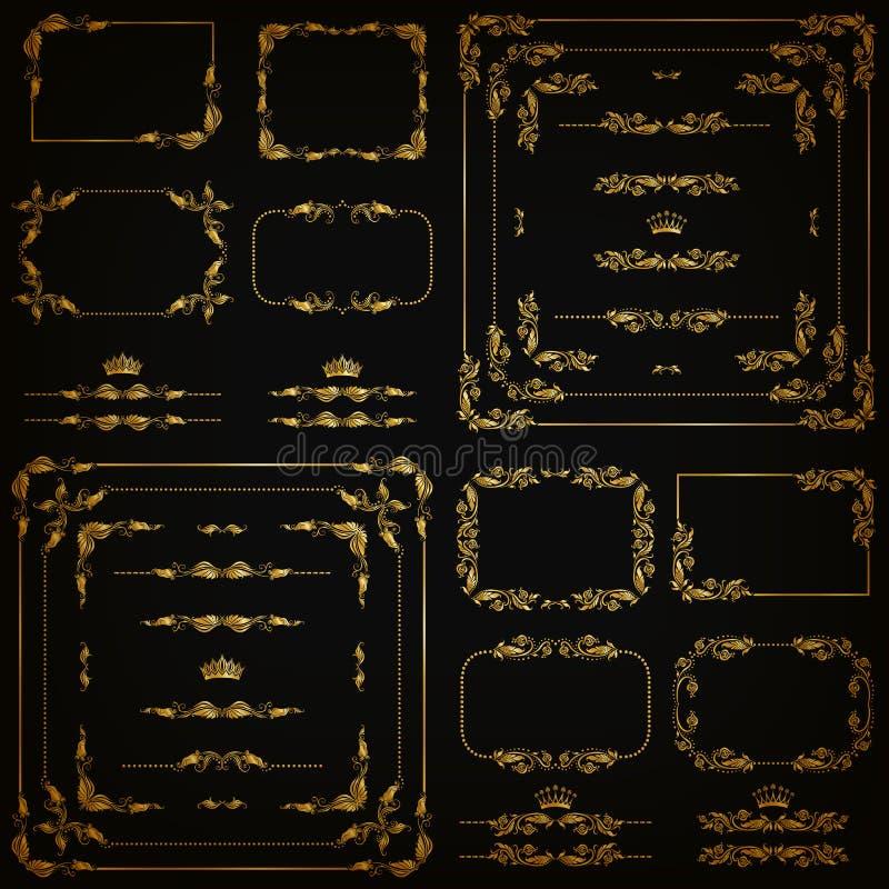 Διανυσματικό σύνολο χρυσών διακοσμητικών συνόρων, πλαίσιο απεικόνιση αποθεμάτων