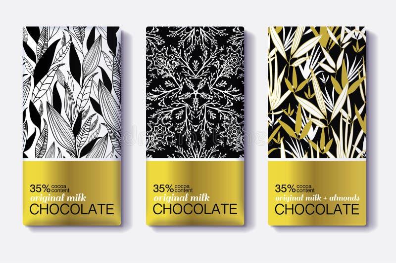 Διανυσματικό σύνολο χρυσών φραγμών σοκολάτας Μαύρα, άσπρα σχέδια συσκευασίας σχεδίων διανυσματική απεικόνιση