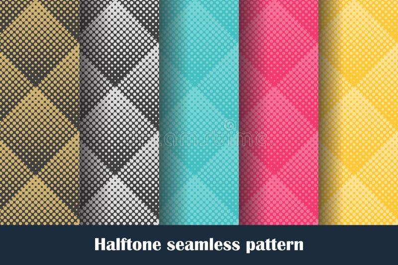 Διανυσματικό σύνολο χρωματισμένου άνευ ραφής σχεδίου ημίτονύ διανυσματική απεικόνιση