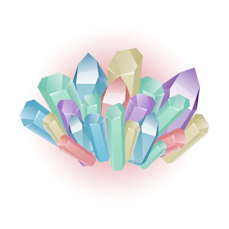 Διανυσματικό σύνολο χρωματισμένων μεταλλευμάτων, κρύσταλλα, διαμάντι διανυσματική απεικόνιση
