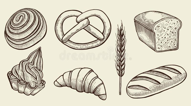 Διανυσματικό σύνολο ψωμιού ελεύθερη απεικόνιση δικαιώματος