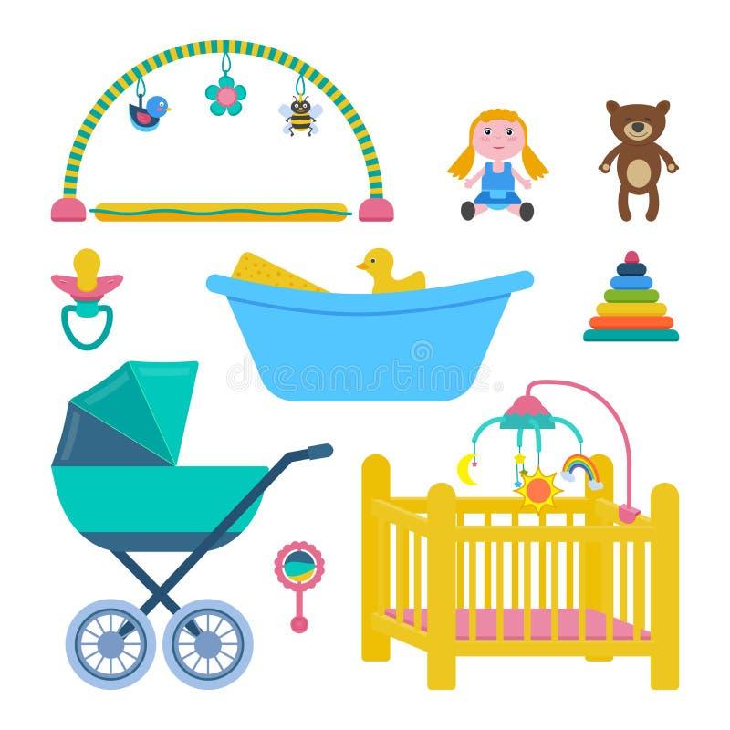 Διανυσματικό σύνολο δωματίων μωρών απεικόνιση αποθεμάτων