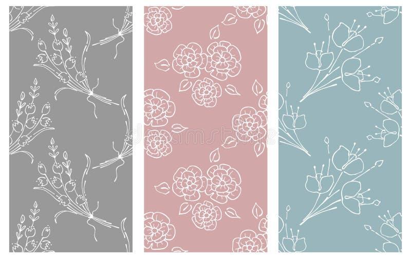Διανυσματικό σύνολο floral απεικόνισης Άνευ ραφής σχέδια κρητιδογραφιών με την ανθοδέσμη με τα λουλούδια, φύλλα, διακοσμητικά στο ελεύθερη απεικόνιση δικαιώματος