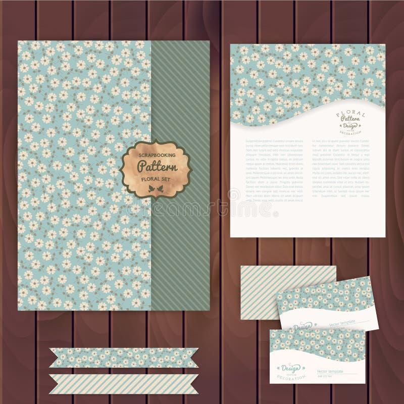 Διανυσματικό σύνολο floral εκλεκτής ποιότητας γαμήλιων καρτών στην ξύλινη σύσταση, invi διανυσματική απεικόνιση