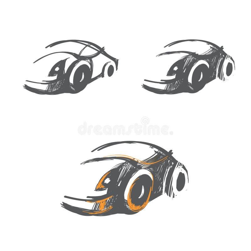 Διανυσματικό σύνολο hand-drawn σκίτσων αυτοκινήτων διανυσματική απεικόνιση