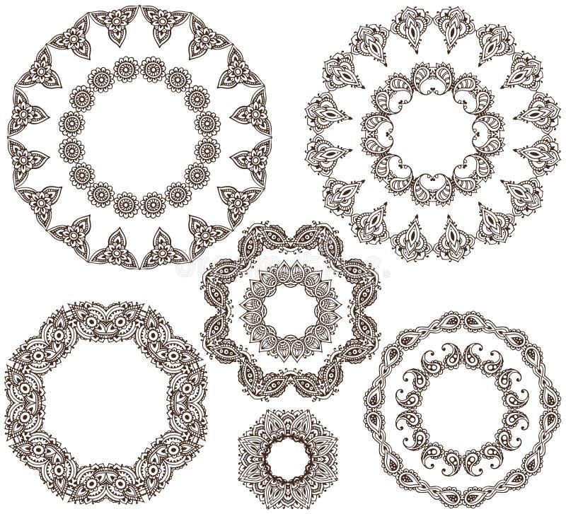 Διανυσματικό σύνολο henna floral πλαισίων απεικόνιση αποθεμάτων