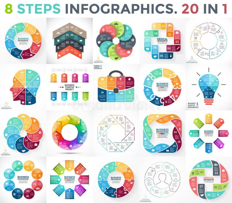 Διανυσματικό σύνολο infographics κύκλων Επιχειρησιακά διαγράμματα, γραφικές παραστάσεις βελών, παρουσιάσεις λογότυπων ξεκινήματος διανυσματική απεικόνιση