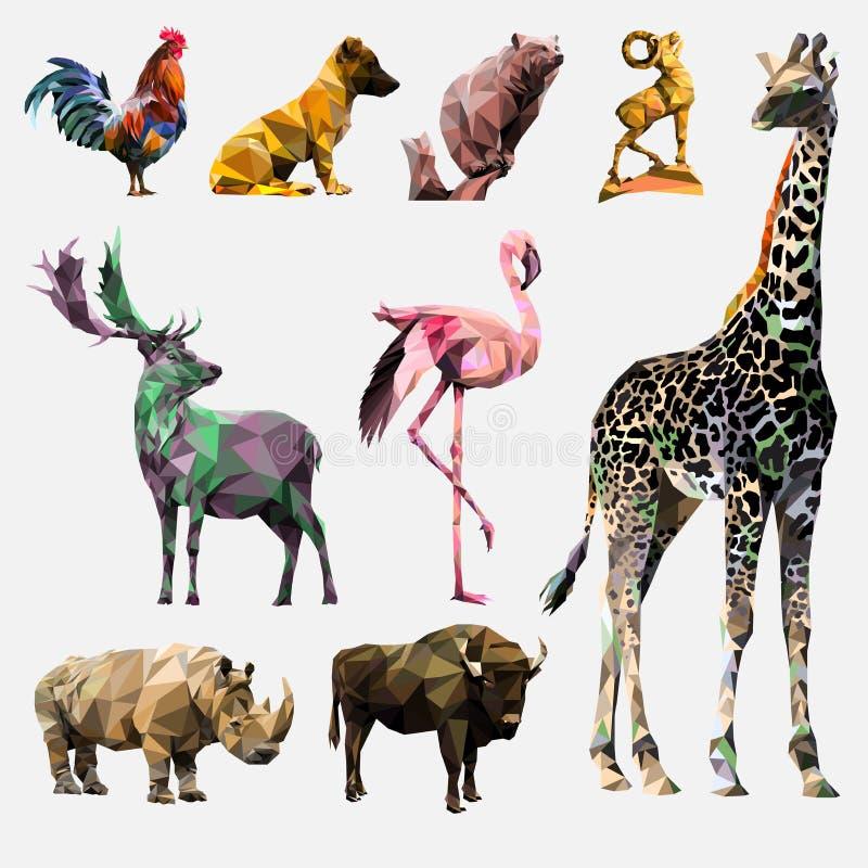 Διανυσματικό σύνολο polygonal ζώων ελεύθερη απεικόνιση δικαιώματος