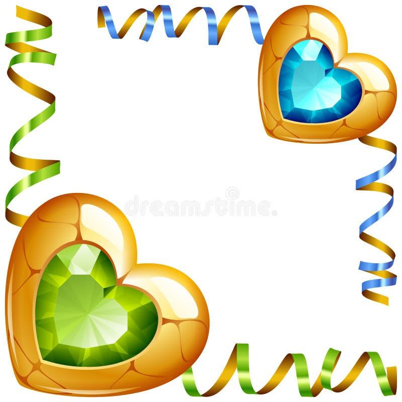 Διανυσματικό σύντομο χρονογράφημα γωνιών Πράσινες και μπλε καρδιές κοσμημάτων απεικόνιση αποθεμάτων