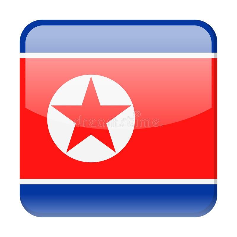 Διανυσματικό τετραγωνικό εικονίδιο σημαιών Βόρεια Κορεών απεικόνιση αποθεμάτων