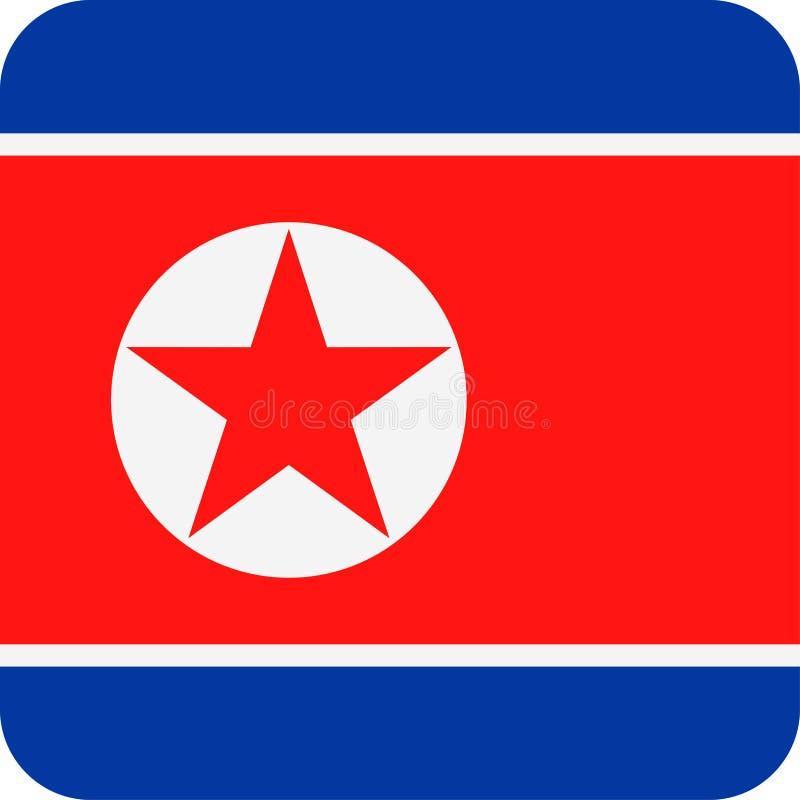Διανυσματικό τετραγωνικό επίπεδο εικονίδιο σημαιών Βόρεια Κορεών ελεύθερη απεικόνιση δικαιώματος