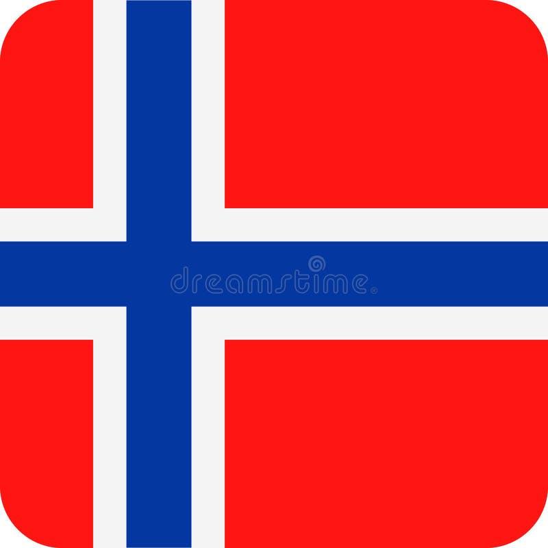 Διανυσματικό τετραγωνικό επίπεδο εικονίδιο σημαιών της Νορβηγίας απεικόνιση αποθεμάτων